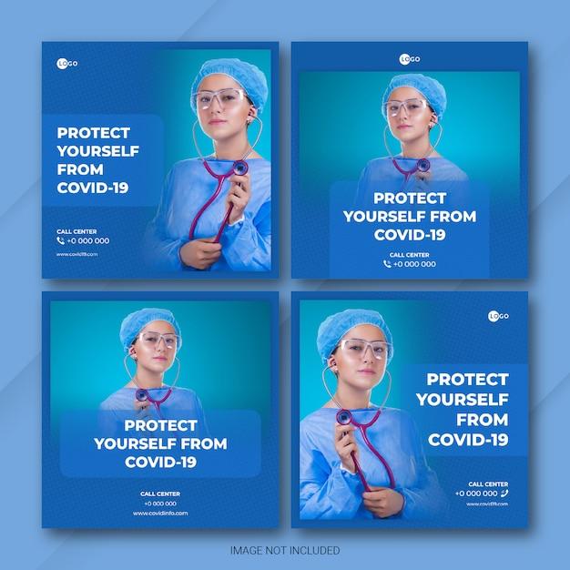 Doença de coronavírus pós pacote de mídia social Psd Premium