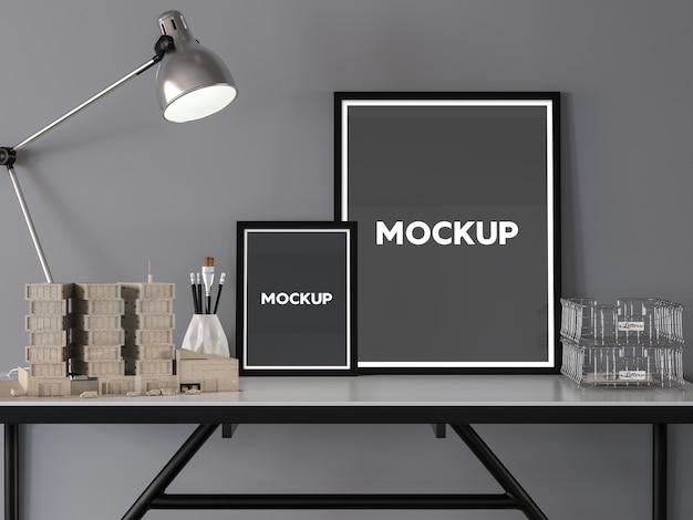 Dois, quadros, desktop, maquete, cima, desenho Psd grátis