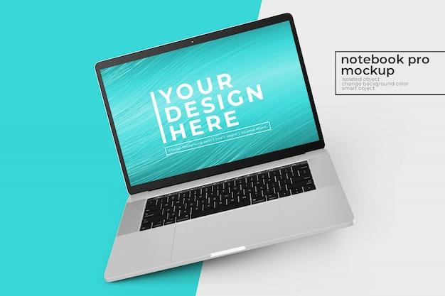 Editável fácil de editar notebooks de 15'4 polegadas pro psd mockups design s na posição inclinada para a esquerda Psd Premium