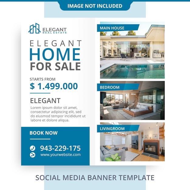 Editável simples minimalista casa para venda imobiliária banner promoções Psd Premium