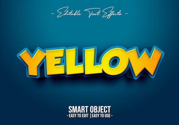 Efeito 3d de estilo de texto amarelo Psd Premium
