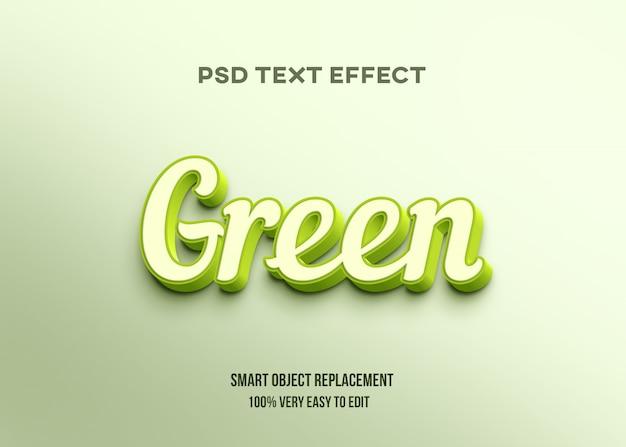Efeito 3d de texto brilhante verde Psd Premium