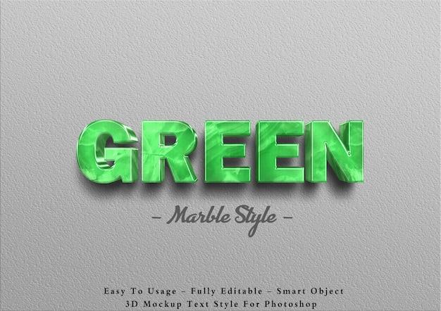 Efeito 3d de texto em mármore verde na parede Psd Premium