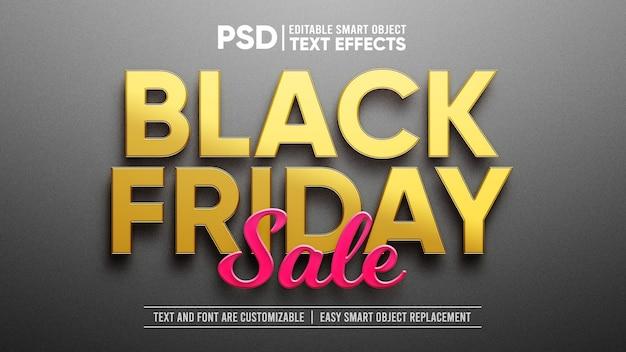 Efeito de camada de objeto inteligente gold e plástico black friday Psd Premium