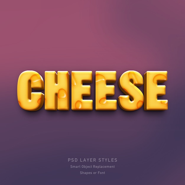 Efeito de estilo 3d de queijo Psd Premium