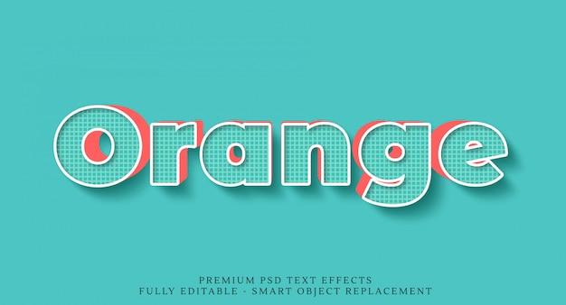 Efeito de estilo de texto 3d azul e laranja psd Psd Premium