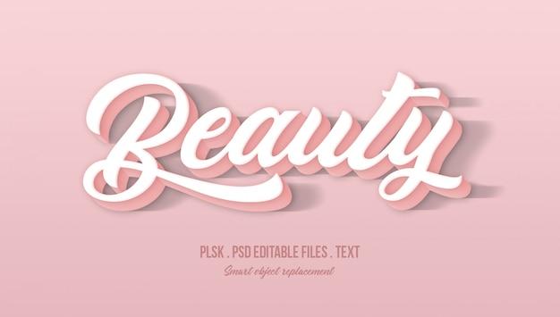 Efeito de estilo de texto 3d de beleza Psd Premium