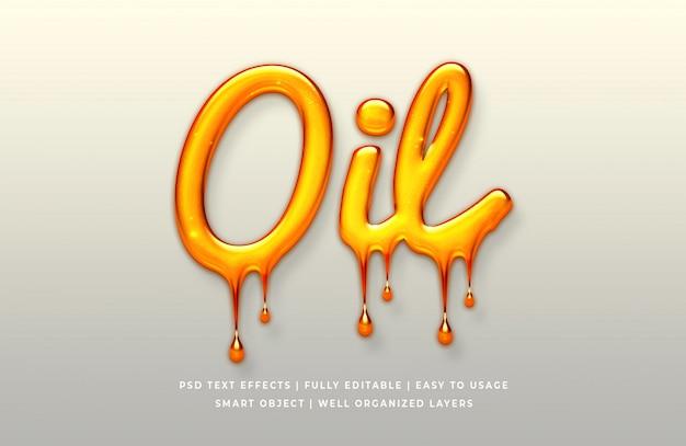 Efeito de estilo de texto 3d de óleo Psd Premium