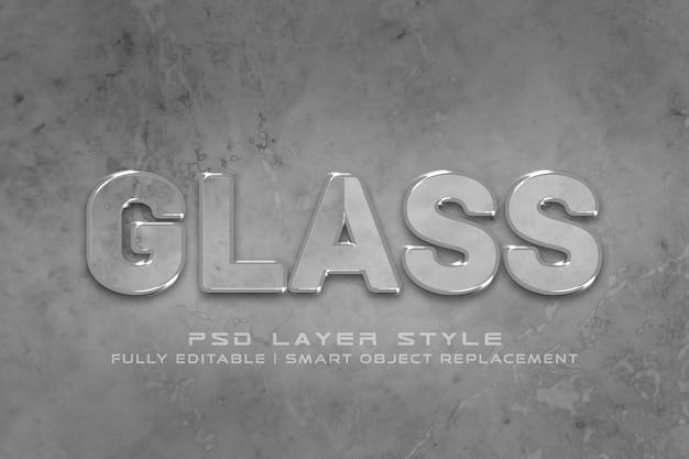 Efeito de estilo de texto 3d de vidro Psd Premium