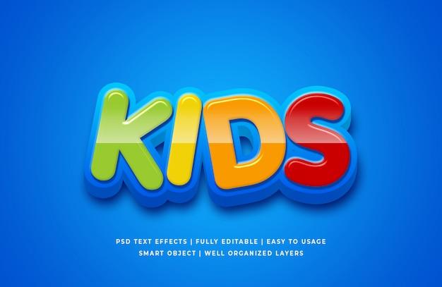 Efeito de estilo de texto 3d dos desenhos animados para crianças Psd Premium