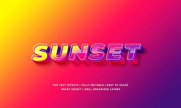 Efeito de estilo de texto 3d por do sol Psd Premium
