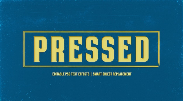 Efeito de estilo de texto 3d pressionado na parede do grunge Psd Premium