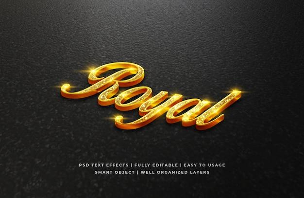 Efeito de estilo de texto 3d real dourado Psd Premium