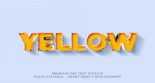 Efeito de estilo de texto amarelo psd, efeitos de texto psd premium Psd Premium
