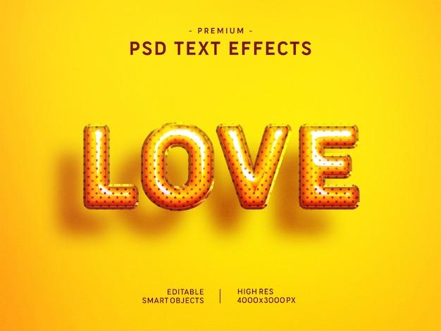 Efeito de estilo de texto de balão de amor dia dos namorados em amarelo Psd Premium