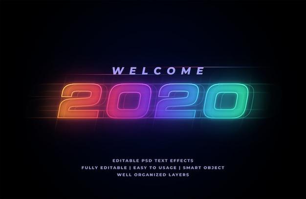 Efeito de estilo de texto de boas-vindas em 2020 Psd Premium