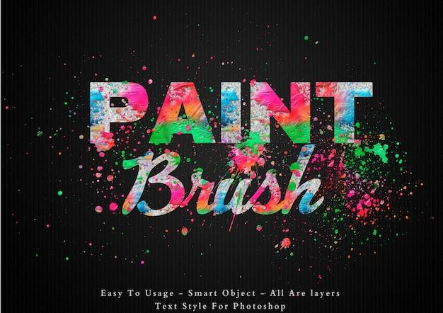Efeito de estilo de texto de cores de pincel de pintura Psd Premium