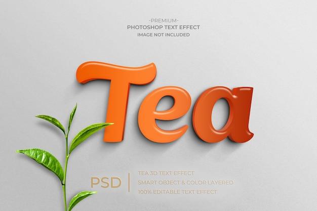Efeito de estilo de texto de maquete 3d tea Psd Premium