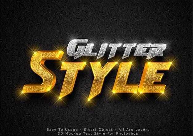 Efeito de estilo de texto de maquete de glitter 3d Psd Premium
