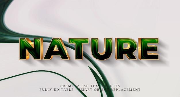 Efeito de estilo de texto de natureza Psd Premium