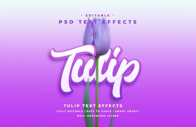 Efeito de estilo de texto de tulipa 3d editável Psd Premium