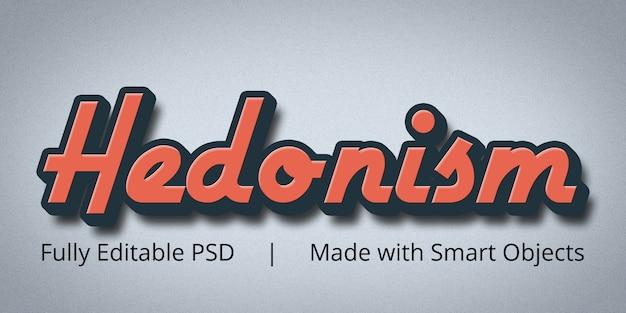 Efeito de estilo de texto editável do hedonismo no photoshop Psd Premium