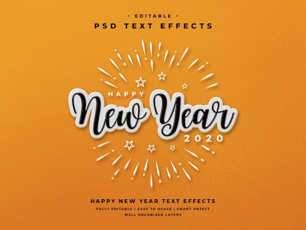 Efeito de estilo de texto editável feliz ano novo 2020 Psd Premium