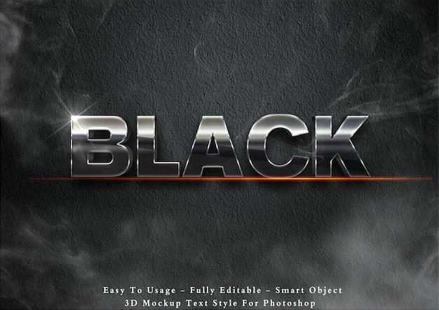 Efeito de estilo de texto em metal preto 3d Psd Premium