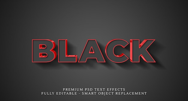 Efeito de estilo de texto em preto, efeitos de texto premium Psd Premium
