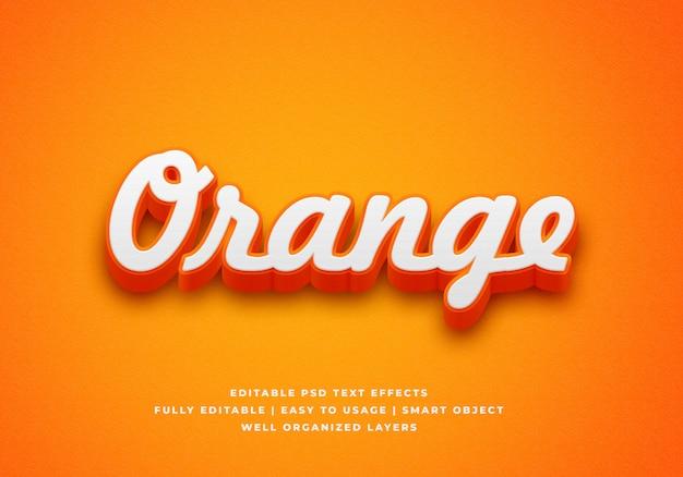Efeito de estilo de texto laranja 3d Psd Premium