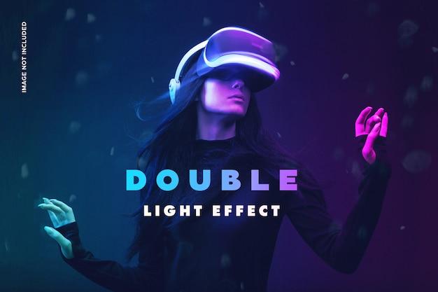Efeito de fotografia com luz dupla Psd Premium