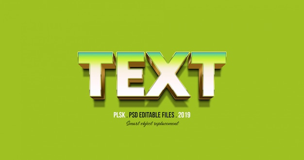 Efeito de texto 3d com fundo verde Psd Premium