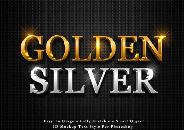 Efeito de texto 3d de ouro e prata Psd Premium