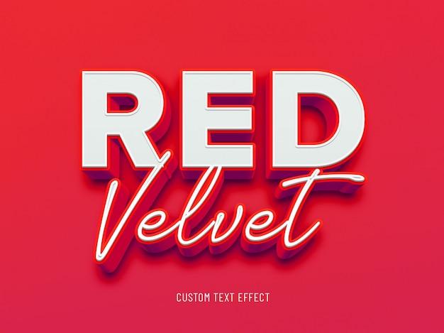 Efeito de texto 3d de veludo vermelho Psd Premium