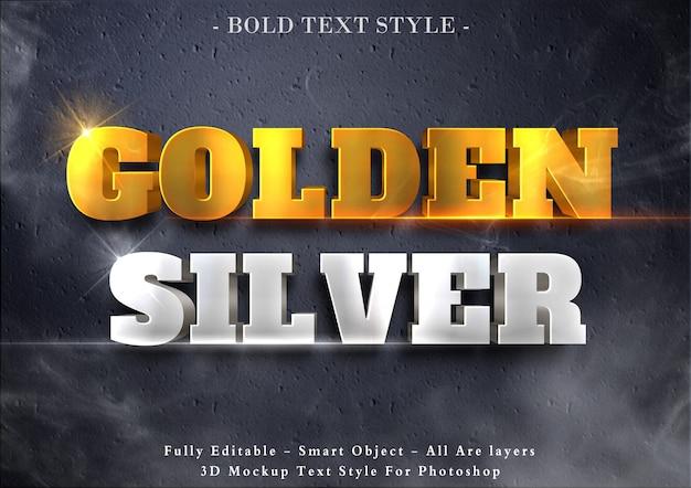 Efeito de texto 3d dourado e prateado Psd Premium