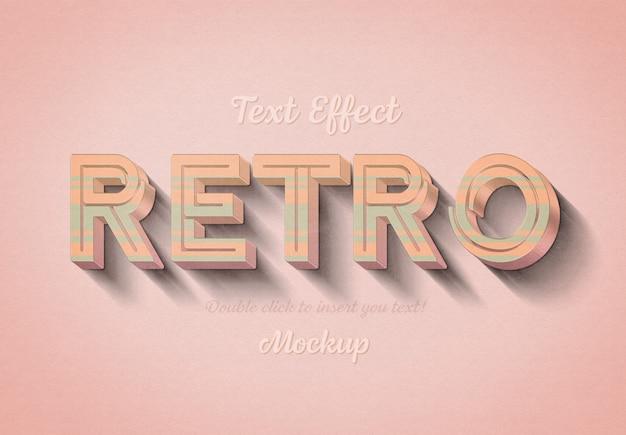 Efeito de texto 3d retrô com listras rosa e azuis Psd Premium