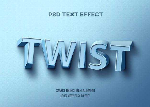 Efeito de texto azul torção Psd Premium