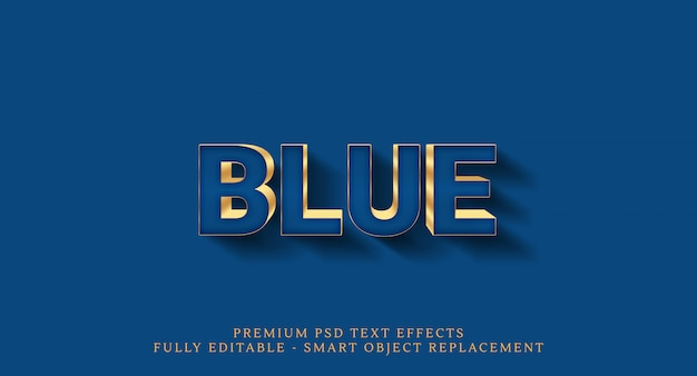 Efeito de texto azul Psd Premium