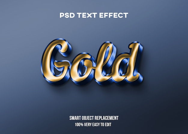 Efeito de texto brilhante dourado e azul Psd Premium