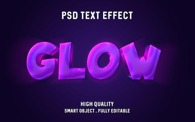 Efeito de texto brilhante roxo rosa 3d Psd Premium