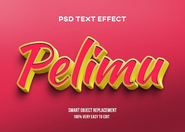 Efeito de texto brilhante vermelho amarelo ouro Psd Premium