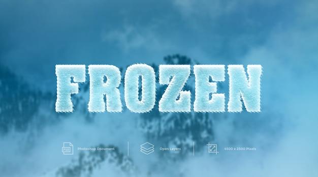 Efeito de texto congelado a frio design efeito de camada de photoshop Psd Premium