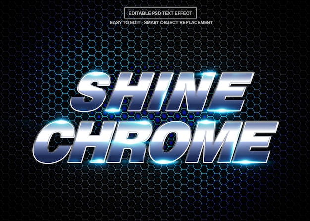Efeito de texto cromado brilho Psd Premium