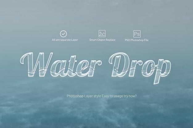Efeito de texto de água Psd Premium