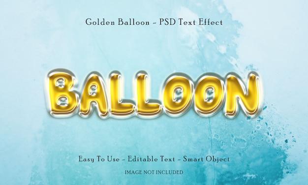 Efeito de texto de balão dourado Psd Premium