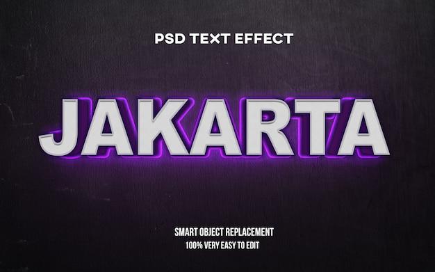 Efeito de texto de brilho de jacarta Psd Premium