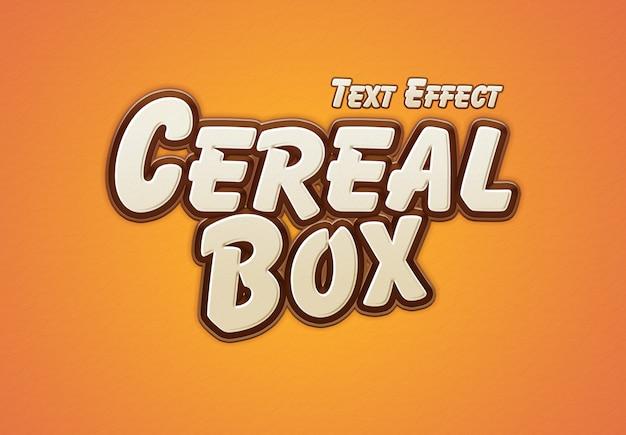 Efeito de texto de caixa de cereal Psd Premium