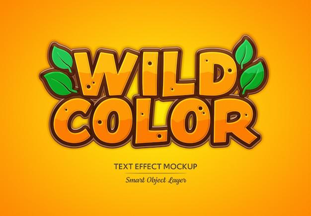 Efeito de texto de cor selvagem mockup Psd Premium