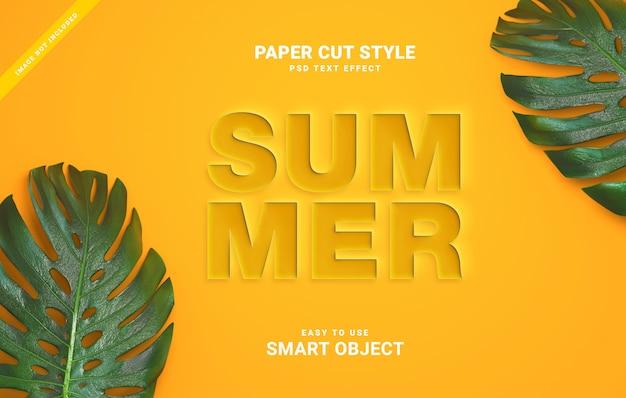 Efeito de texto de corte de papel de verão Psd Premium