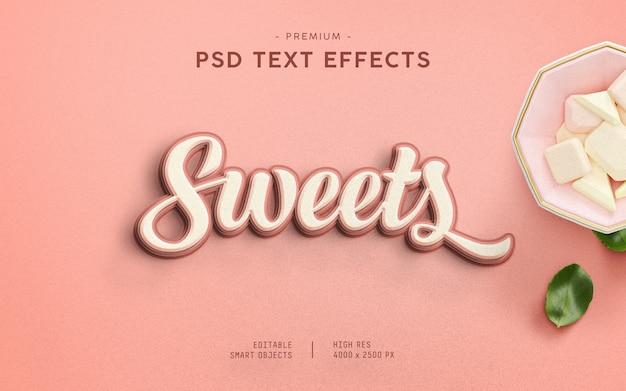 Efeito de texto de doces Psd Premium